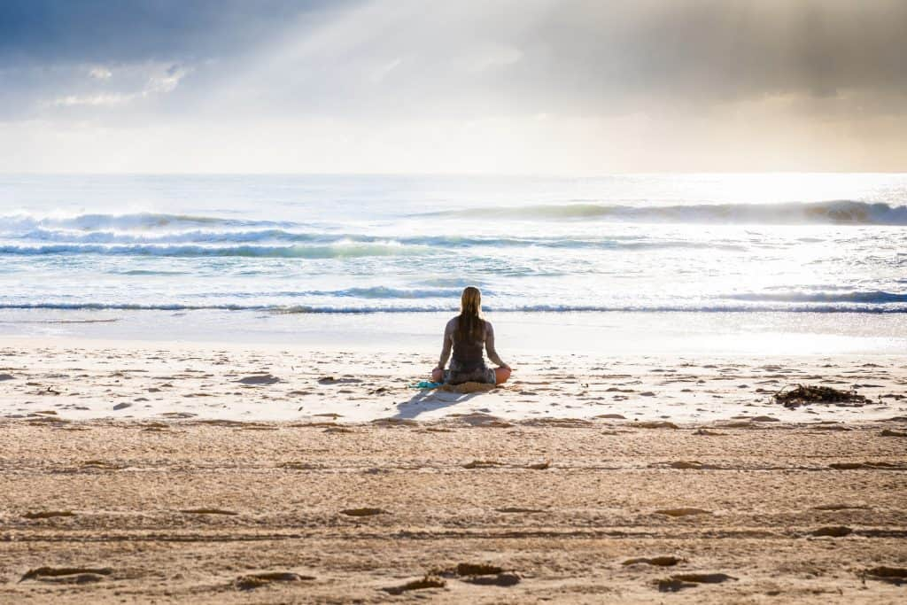 meditation on a beach